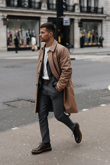 Kevin Elezaj - Hugo Boss Shoes, Selected Suit, Cos Sweater, Topman Trenchcoat - Trench