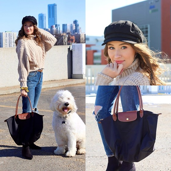 Taylor Doucette - H&M Chunky Knit Turtleneck, Citizens Of Humanity Liya Ripped Jeans, Longchamp Tote Bag, Zara Cheetah Print Belt, Brixton Fiddler Cap - Gaslighter - Dixie Chicks