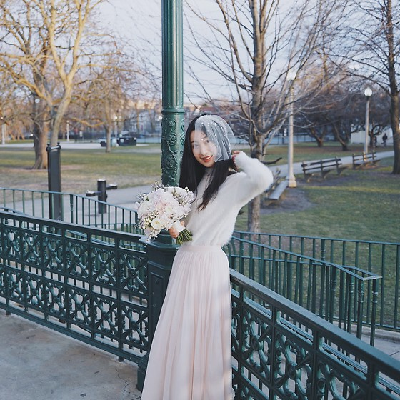 Jade Zhu - Etsy Veil, Popsugar White Sweater - Just Married