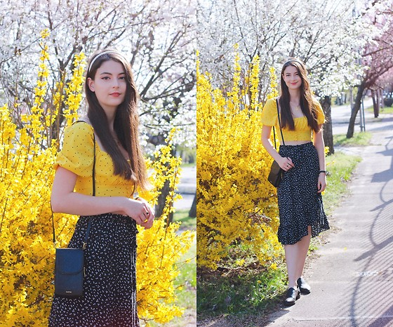 Nora Aradi - Femmelux Shirt, Bonprix Skirt, H&M Shoes, Mango Bag, Alexandra De Paris Headband - Yellow