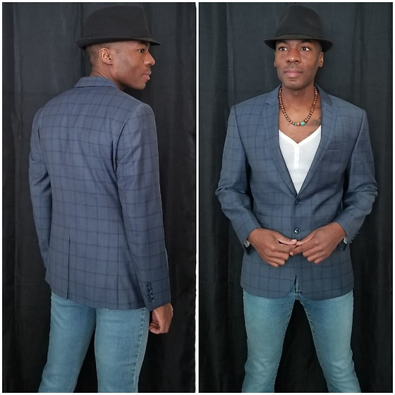 Thomas G - Faded Glory Fedora, Express Suit Jacket, Express Stretch Fit & Flare, Old Navy 3 Button V Neck 3/4 Sleeve - Fedora | Suit jacket | Denim