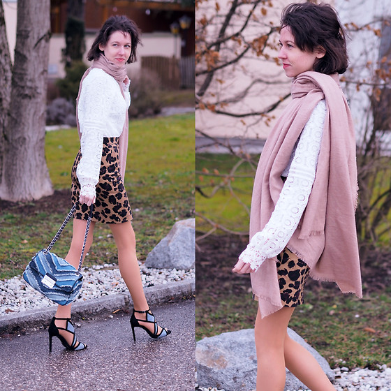Claire H - Shein White Blouse, Lyvem Leo Print Skirt, Zara Strappy Heels, Michael Kors Chain Bag - Out of my mind