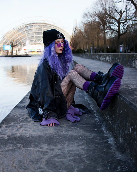 Kimi Peri - Koi Footwear Cyber Matrix Platform Boots, Skoot Apparel Fishnet Tights, Yesstyle Purple Cardigan, Vii & Co. Leather Jacket, Uniwigs Purple Hair, Long Clothing Logo Beanie, Vii & Co. Purple Glasses, Skoot Apparel Purple Socks - Purple Passion