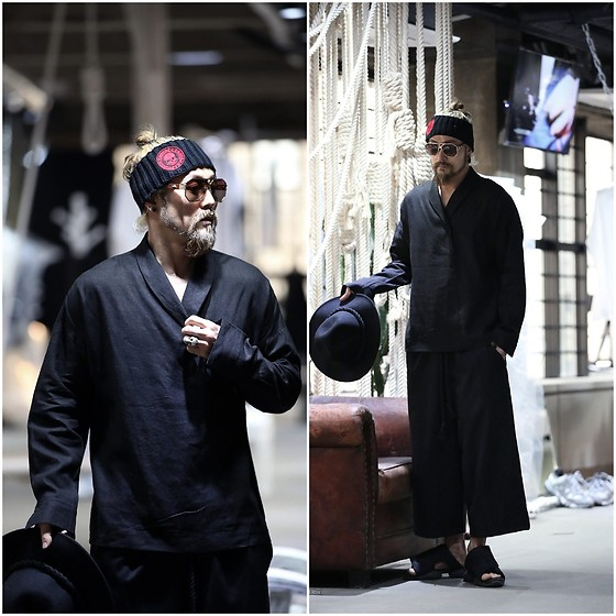 INWON LEE - Byther Shawl Collar Linen Loose Shirts, Byther Relaxed Fit Super Wide Pants - Let's Fight Together