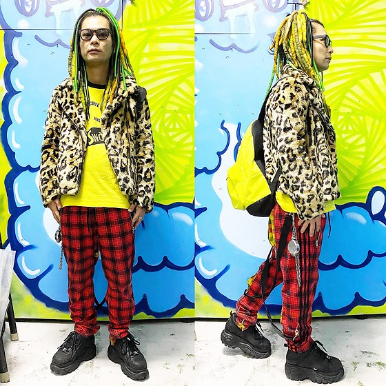 @KiD - Typhoon Mart Sunglasses, Forever 21 Fur Riders, The Swankys Very Beat Of Hero, Adidas Bondage Jersey, Buffalo Platform, Obey Neon Bag - JapaneseTrash545