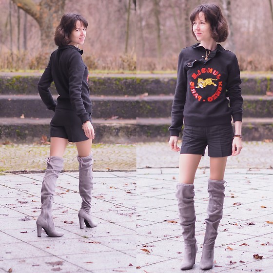 Claire H - Kenzo Black Sweater, H&M Black Shorts, Public Desire Over Knee Boots - Up, up and away