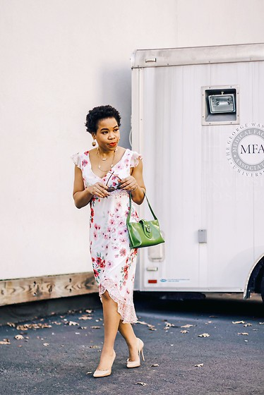 Grace Alex - New Yorker Floral Gown, Furla Leather Bag, Stuart Weitzman Pump Heels - SPRING SPRUNG