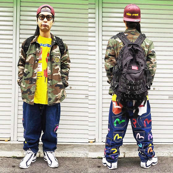 @KiD - Dam Funk Cap, Rvca Ben Venom, Lil Peep Long Sleeve Tee, Evisu Denim, Fila Sneaker, Typhoon Mart Sunglasses - JapaneseTrash547