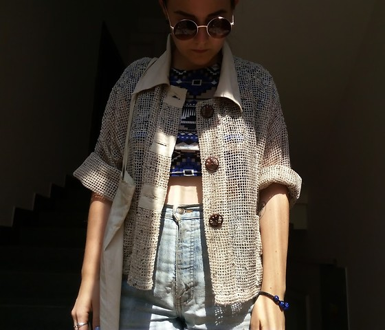 Hypersensitive M. - Thrifted Hippie Knit, Thrifted Aztec Crop Top, Thrifted Levi's Shorts, My Mother's Lennon's Glasses, A Film Festival Tote Bag - Espresso tonic