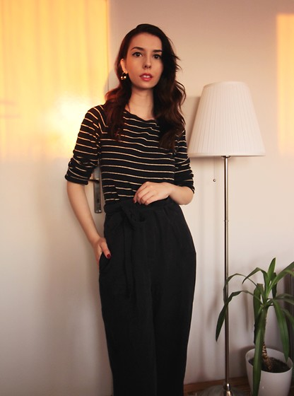 Jelena - Ralph Lauren Stripped Blouse, H&M Wide Leg Pants - How to glam up your stay at home outfits