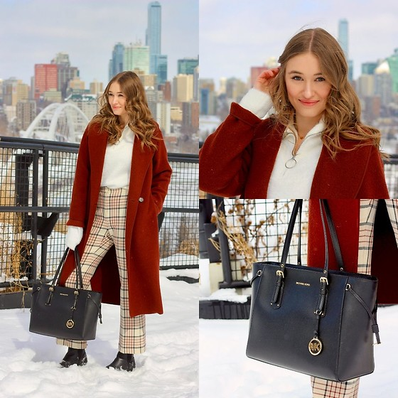 Taylor Doucette - H&M Fluffy Half Zip Sweater, Aritzia Checked Wool Pants, Frank And Oak Leather Chelsea Boots, Aritzia Boiled Wool Coat, Michael Kors Voyager Leather Tote - Favorite Part of Me - Astrid S
