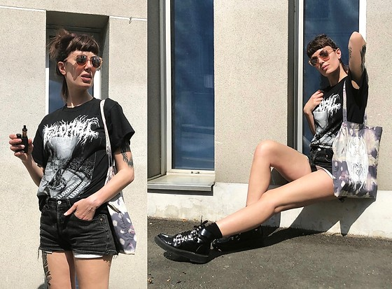 ♡Nelly Kitty♡ - Full Of Hell Merch Tee, Levi's® Black Denim Cropped Shorts, Asos Black Faux Leather Combat Boots - OOTD#85