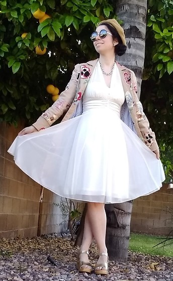 Saguaro Style - Anthropologie Elevenses Pansy Trench Coat, Sven Clogs Gold Clog Sandals, Vintage Marilyn Monroe Style Dress - 4.18.20