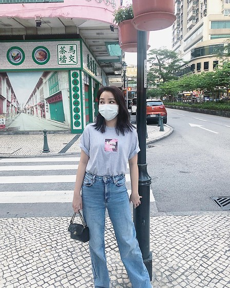 Yz Wong_ - Chanel, Zara Jeans, Battle Tee - OOTD with mask(IG:yzwong_)