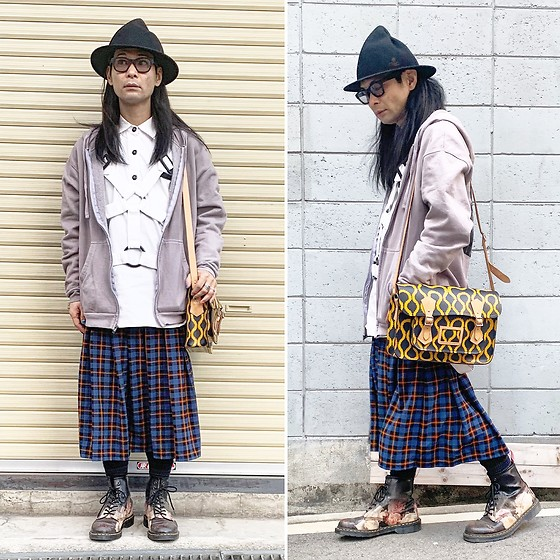 @KiD - Vivienne Westwood Magical Hat, King Mob Parachute Shirts, Ssnmrkrn × (K)Ollaps Industrial Hoodies, Vivienne Westwood Squiggle Bag, Dr. Martens New Order, Typhoon Mart Sunglasses - JapaneseTrash553