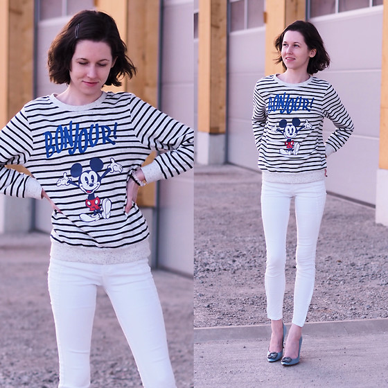 Claire H - Disney Mickey Sweater, Zara White Pants (Really Old), Manolo Blahnik Light Blue Satin Hangisi Heels - BoNjOuR