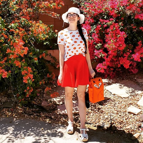 Saguaro Style - Orange Slice Top, Urban Outfitters Red Circle Skirt, Leafling Bags Fox Backpack, Sven Clogs White Diamond Strap - 04.27.20