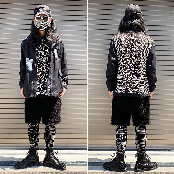 @KiD - (K)Ollaps Post Punk, Uniqlo Remake Jacket, Joy Division Unknown Pleasures, Anzevino Getty Fur Shorts, Sons Of Heroes Unknown Pleasures, Dr. Martens Unknown Pleasures, Fr Renuwal Unknown Pleasures Mask - JapaneseTrash558