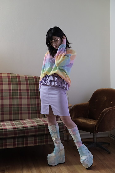 Lovely Blasphemy - Wego Rainbow Knit Sweater, Swankiss Purple Ruffle Jumperskirt, Current Mood Deep Dive Platform Boots - Even in the smallest events there's no... coincidence