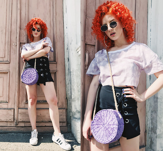 Vlada Kozachyshche - Booriva Shirt, Stradivarius Skirt, Booriva Bag, Bershka Earrings, Adidas Sneakers - Violet