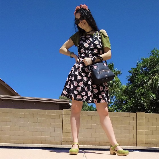 Saguaro Style - Thrifted Pinafore Dress, Kate Spade Cat Bag, Anthropologie Cold Shoulder Tee, Sven Clogs Lacy Clog In Kiwi Green - 5.18.20