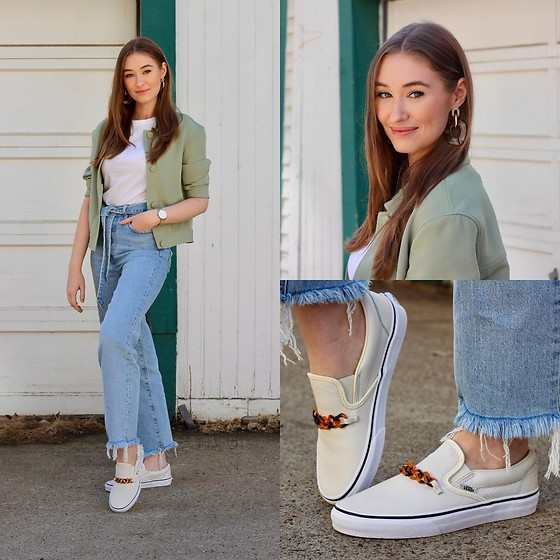 Taylor Doucette - Simons Green Button Up Jacket, Levi's® Ribcage Straight Ankle Jeans With Tie Belt, Oak And Fort Acrylic Statement Earrings, Vans Slip On Chain Sneaker - Give It To You - Julia Michaels