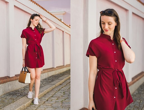 Ewa - Shein Shirt Dress - Burgundy Shirt Dress