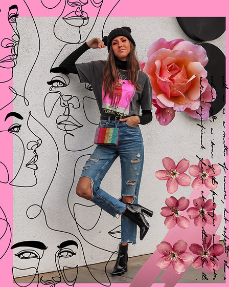 Jenny M - Zara Rainbow Bag, Forever 21 Boots, H&M Jeans - IG: @thehungarianbrunette // Rainbow Edit #2
