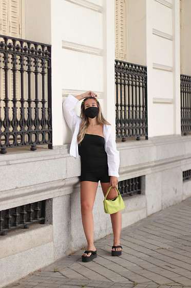 Claudia Villanueva - Stradivarius Shirt, Shein Playsuit, Yesstyle Bag, Asos Sandals - Bodycon Playsuit