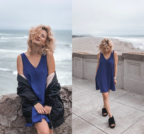 Vlada Kozachyshche - Forever 21 Dress, Pull & Bear Winter Jacket, Ugg Faux Fur Sandals - Cloudy San Francisco
