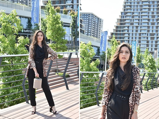 Jelena Dimić - Butik Fashion Team Leopard Print Blazer, Shein Draped Blouse, Shein Trousers, Rosefield Watch, Mohito Bucket Bag - Some nights I just want more than me
