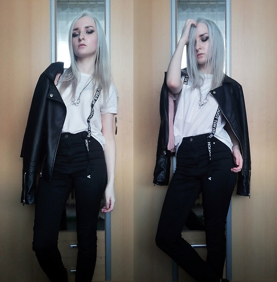 Grim Alex - Sinsay White T Shirt With Interesting Details Xd, Broken Necklace Turned Into Chain For Jeans Then Turned Into A Cooler Necklace, Only Black Leather Jacket, H&M Black Jeggings - Devil Like Me