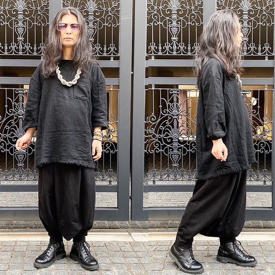 @KiD - Typhoon Mart Sunglasses, Ch. Tops, Monochrome Penguin Pants, Dr. Martens Unknown Pleasures - JapaneseTrash575