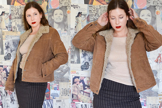 Aka. the Vixen ⚡ - Just Jeans Y2k Brown Sherpa Faux Fur Corduroy Box Cut Trucker Jacket, Wildpear Australia Y2k Gold Sparkly Knit Tank With A High Neckline, Country Road Vintage 1990s Linen Blend Brown Pinstripe Maxi Skirt - Corduroy Classic