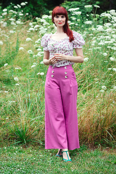 Bleu Avenue - Shein Double Breasted Slant Pocket Palazzo Pants, Shein Puff Sleeve Frill Trim Floral Schiffy Blouse - Casual Summer
