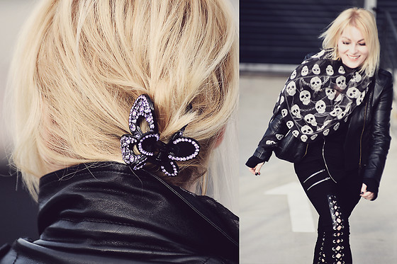 Anca Varsandan - Https://Lovegothic.Com/ Laced Up Zipper Pants, Https://Lovegothic.Com/ Top, Polo Garage Skull Scarf, Https://Glitteroyal.Com/ Hair Clip, Shein Faux Leather Jacket - Butterfly and Skulls