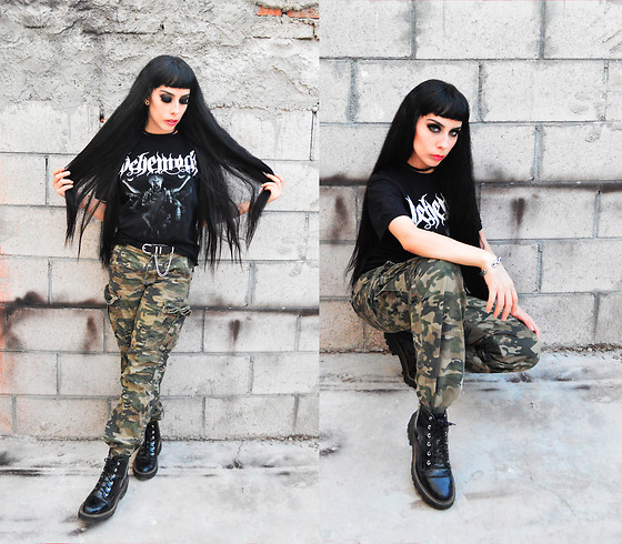 Elsa Lucía Flores - Behemoth Band Tshirt, Cherokee Camo Cargo Jeans, Refill Black Zip Up Boots - As Above, So Below