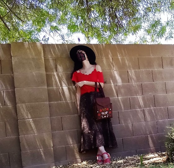 Saguaro Style - La Apparel Plaid Mask, Red Cold Shoulder Top, Leafling Bags Cork Backpack, Coldwater Creek Leopard Maxi Skirt, Sven Clogs Red Double Weave - 07.29.20