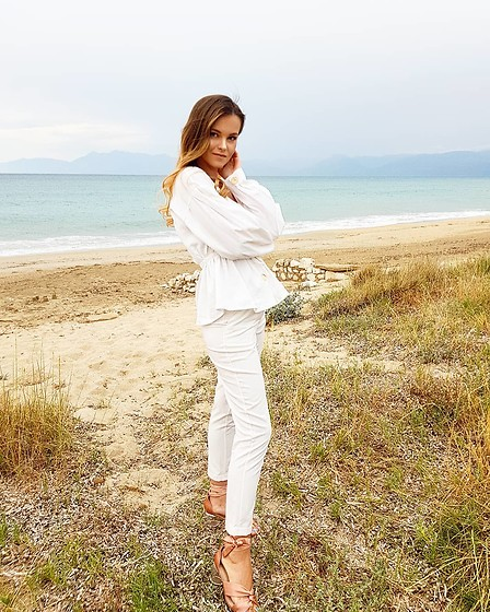 Tamara Bellis - Zara Stylish Puff Sleeved Blouse, Mango White Pants, Asos Satin Heeled Sandals - Selftime at the Beach