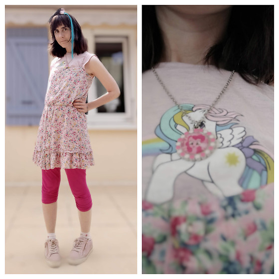 Lulu Longstocking - Second Hand Floral Dress, Second Hand My Little Pony Tee - Girly
