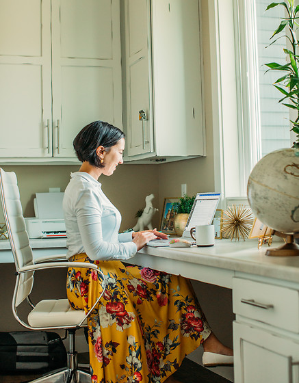 Lindsey Puls - Anatomie Shirt, Modcloth Midi Skirt - Working from Home Outfit