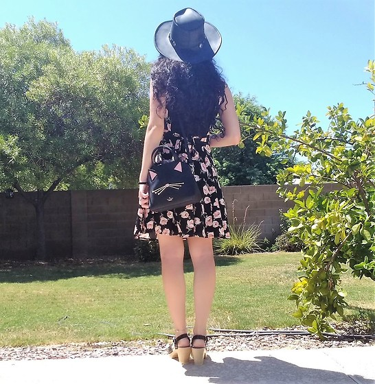 Saguaro Style - Minnetonka Leather Hat, Thrifted Rose Pinafore Dress, Kate Spade Cat Bag, Sven Clogs Black Patent - 08.15.20