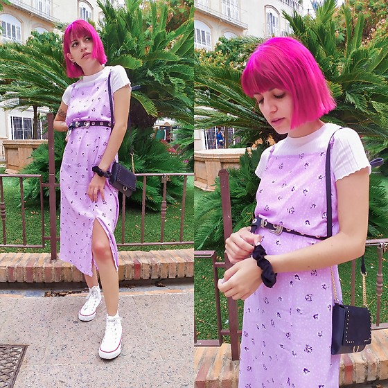 Cristina G. - Pimkie Dress, Primark Bag, Bershka Tshirt - Lilac long dress