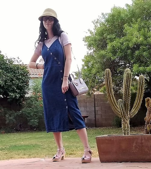Saguaro Style - Kate Spade Bunny Bag, Universal Thread Denim Button Down Midi Dress, Heart Cutout Tee, Sven Clogs Pink Bow Knot - 08.16.20