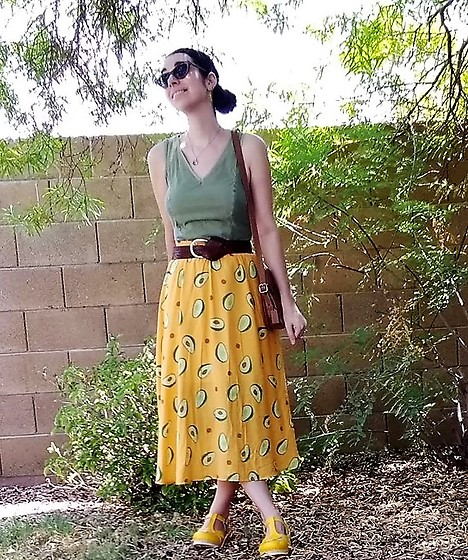 Saguaro Style - Olive Dress Worn As Top, Coach X Disney Mickey Bag, Avocado Skirt, Sven Clogs Yellow - 08.20.20