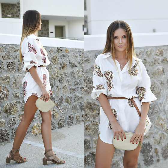 Tamara Bellis - Noracora Shirt Dress, Asos Mini Bag, Just Fashion Now Heeled Sandals - Pineapple Shirt Summer Dress