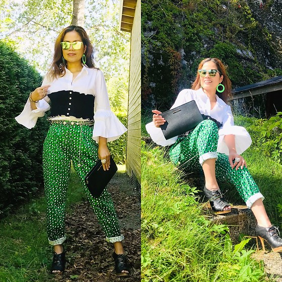 Janeth Javier - Ray Ban Sunglasses, Michael Kors Bag, H&M Pant, H&M Blouse - Green