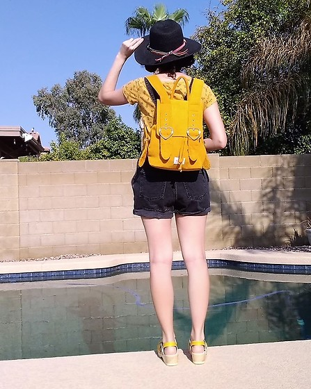 Saguaro Style - Valfre Yellow Backpack, Old Navy Black Overall Shorts, Sven Clogs Yellow - 08.22.20