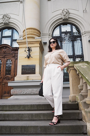Anna Puzova - Vintage Shirt, Reserved Trousers, Reserved Sandals, Mango Bag, Reserved Sunglasses - All Neutrals