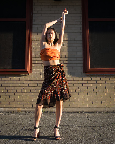 Gi Shieh - Raided Mom's Closet Orange Scarf Styled As Top, Raided Mom's Closet Brown Polka Dot Skirt, Old Fast Fashion Black Sandals - Golden Hour Glow